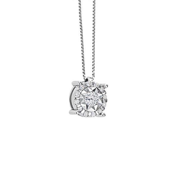 Collana Donna Bliss In Oro Bianco 18 kt E Diamanti 0.15 Ct
