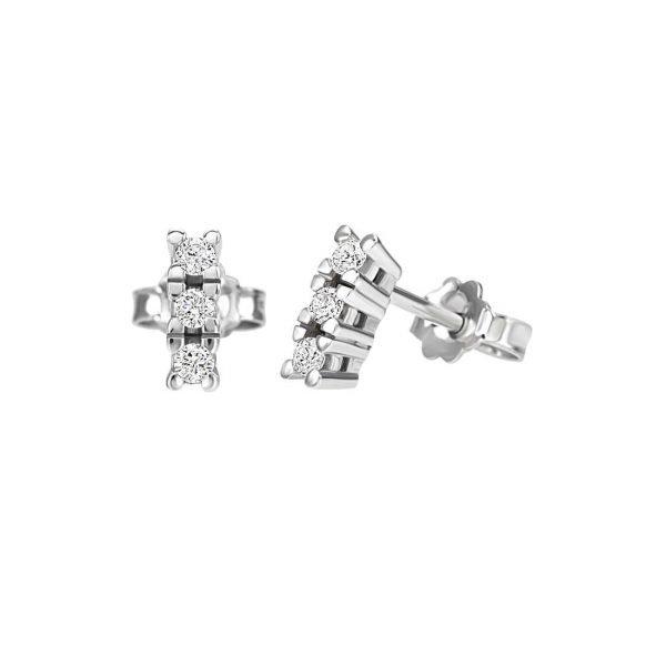 Orecchini Donna Bliss In Oro Bianco 18 kt E Diamanti 0.09 Ct