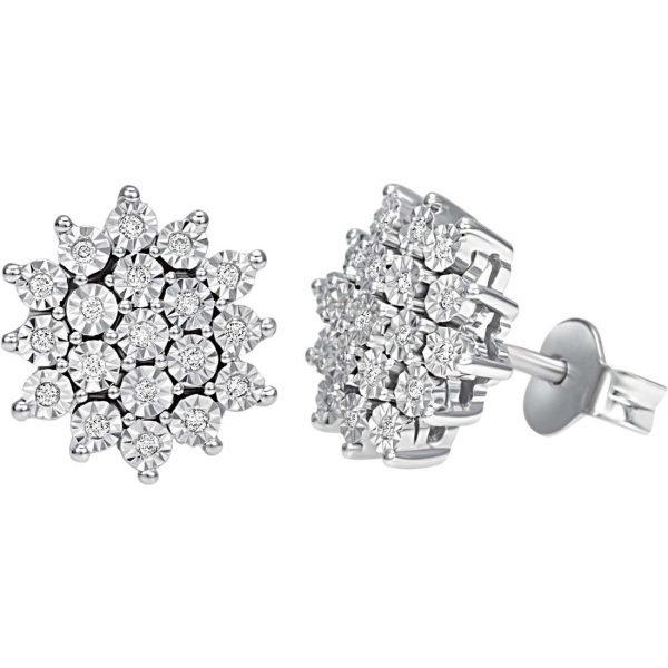 Orecchini Donna Bliss In Oro Bianco 18 kt E Diamanti 0.15 Ct