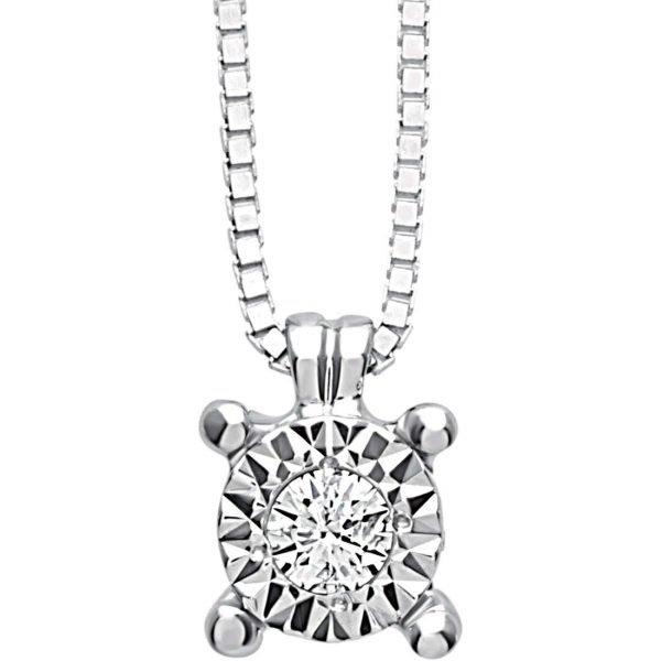Collana Donna Bliss In Oro Bianco 18 kt E Diamanti 0.01 Ct