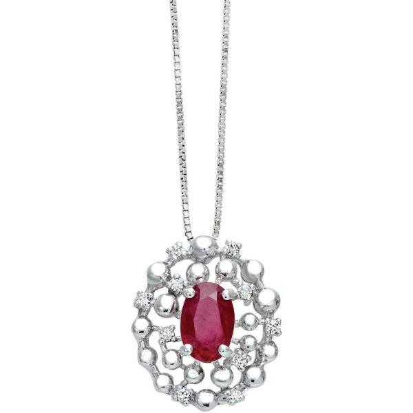 Collana Donna Bliss In Oro Bianco 18 kt E Diamanti E Rubini 0.05 Ct