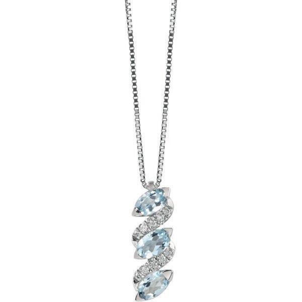 Collana Donna Bliss In Oro Bianco 18 kt E Diamanti 0.05 Ct E Acquamarina 1.05 Ct