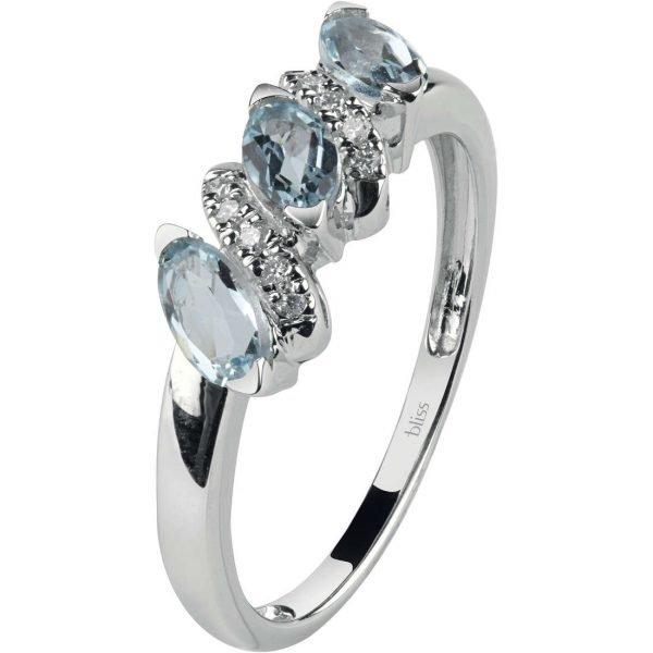 Anello Donna Bliss In Oro Bianco 18 Kt Diamanti 0.05 Ct E Acquamarina 0.90 Ct