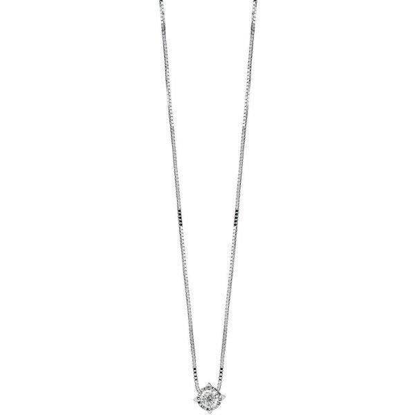 Collana Donna Bliss In Oro Bianco 18 Kt E Diamanti 0.04 Ct