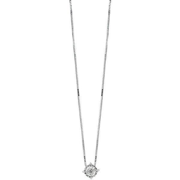 Collana Donna Bliss In Oro Bianco 18 kt E Diamanti 0.08 Ct
