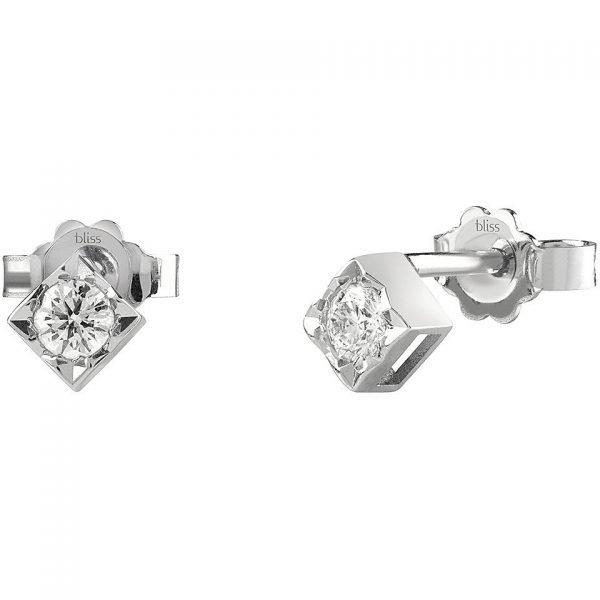 Orecchini Donna Bliss In Oro Bianco 18 kt E Diamanti 0.16 Ct