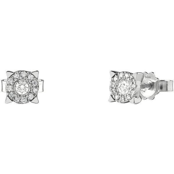 Orecchini Donna Bliss In Oro Bianco 18 kt E Diamanti 0.14 Ct