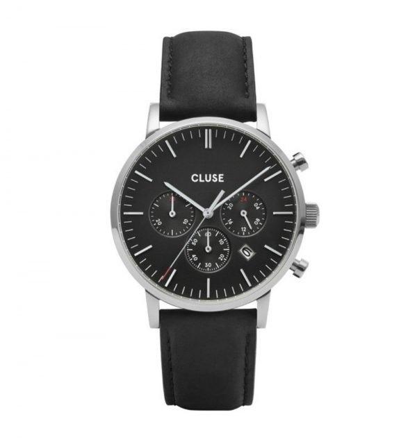 Orologio Uomo Cluse Al Quarzo Cronografo In Acciaio E Pelle