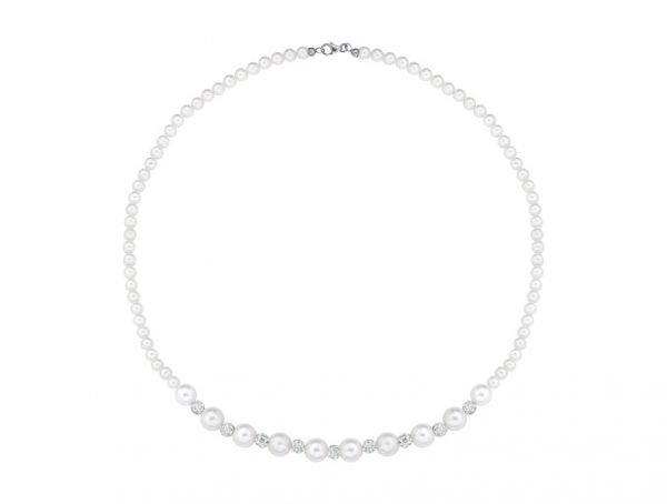 Collana di perle 4 mm con 9 perle bianche da 8 mm e 8 sfere zirconate - Collezione Gioia Verre Gioielli