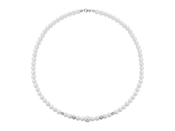 Collana di perle 6 mm con 4 sfere sfaccettate in oro bianco - Collezione Bouquet Verre Gioielli