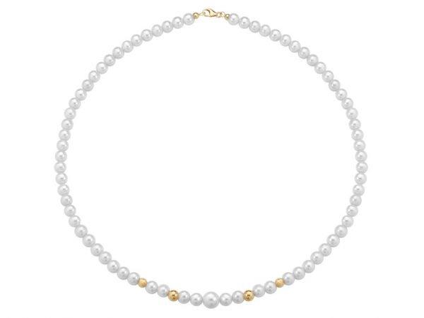 Collana di perle 6 mm con 2 sfere sfaccettate in oro giallo 18 kt e 2 sfere lucide in oro giallo 18 kt - Collezione Bouquet Verre Gioielli