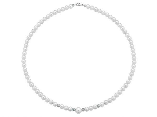 Collana di perle 6 mm con 2 sfere sfaccettate in oro bianco e 2 sfere lucide in oro bianco - Collezione Bouquet Verre Gioielli