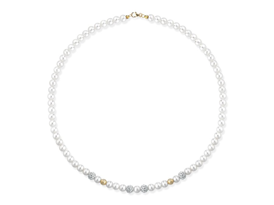 Collana di perle 5 mm con 4 sfere zirconate e 2 rigate in oro giallo 18 kt ? Collezione Gold Zirconata in oro giallo 18 kt  Verre Gioielli - Perle