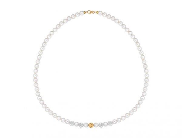 Collana di perle 6 mm con 4 sfere zirconate e 1 sfera rigata in oro giallo 18 kt - Collezione Rigata Verre Gioielli