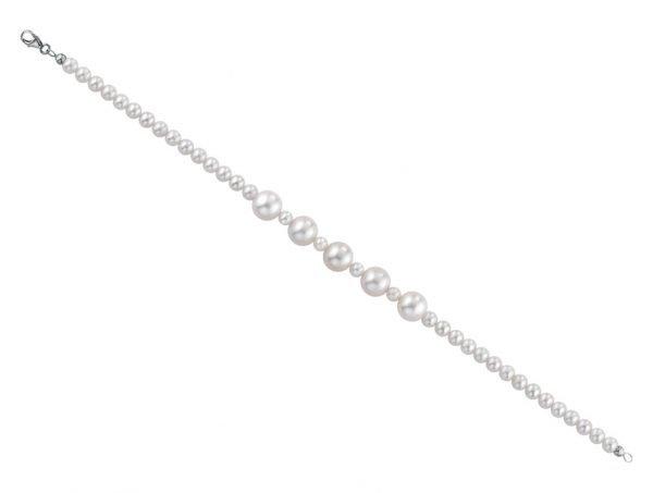 Bracciale di perle 4 mm con 5 perle bianche da 8 mm e 4 perle bianche - Collezione Gioia Verre Gioielli