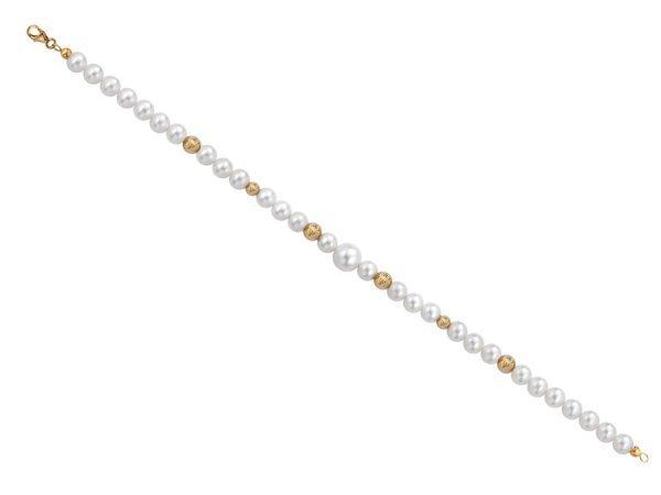 Bracciale di perle 6 mm con 6 sfere sfaccettate in oro giallo 18 kt - Collezione Bouquet Verre Gioielli