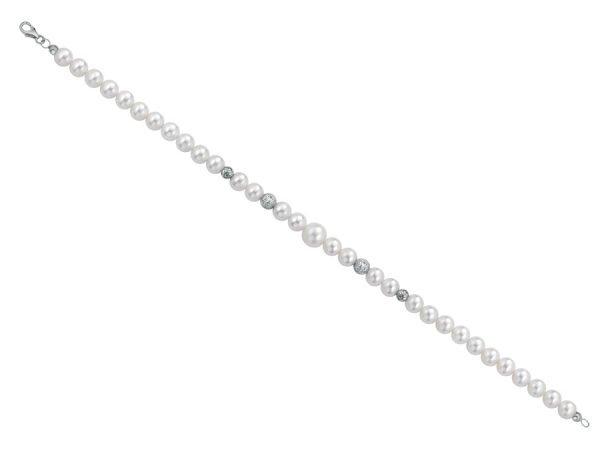 Bracciale di perle 6 mm con 4 sfere sfaccettate in oro bianco - Collezione Bouquet Verre Gioielli
