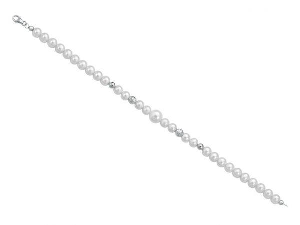 Bracciale di perle 6 mm con 2 sfere sfaccettate in oro bianco e 2 sfere lucide in oro bianco - Collezione Bouquet Verre Gioielli