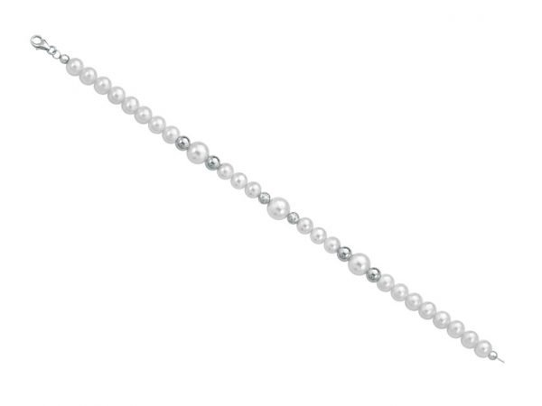 Collana di perle 6 mm con 2 sfere sfaccettate in bianco e 4 sfere lucide in oro bianco - Collezione Bouquet Verre Gioielli