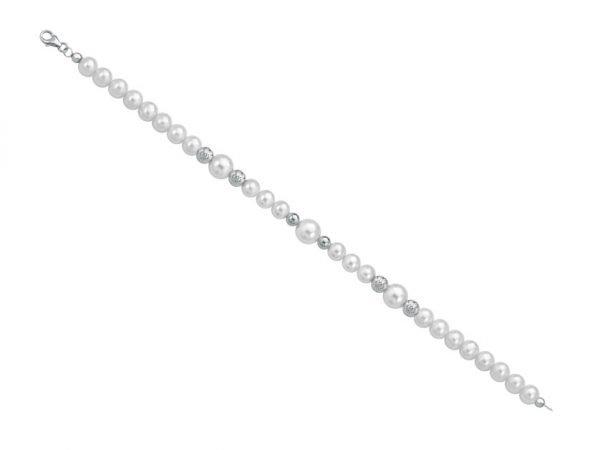 Collana di perle 6 mm con 4 sfere sfaccettate in bianco e 2 sfere lucide in oro bianco - Collezione Bouquet Verre Gioielli