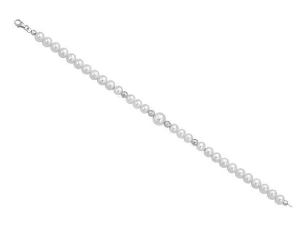 Collana di perle 6 mm con 2 sfere sfaccettate in bianco e 2 sfere lucide in oro bianco - Collezione Bouquet Verre Gioielli