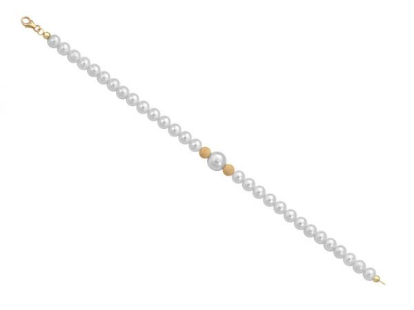 Bracciale di perle 6 mm con 2 sfere satinate in oro giallo 18 kt - Collezione Bouquet Verre Gioielli