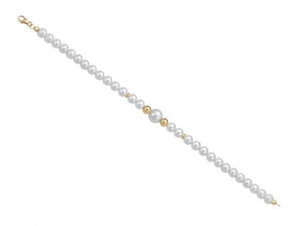 Bracciale di perle 6 mm con 2 sfere lucide in oro giallo 18 kt - Collezione Bouquet Verre Gioielli