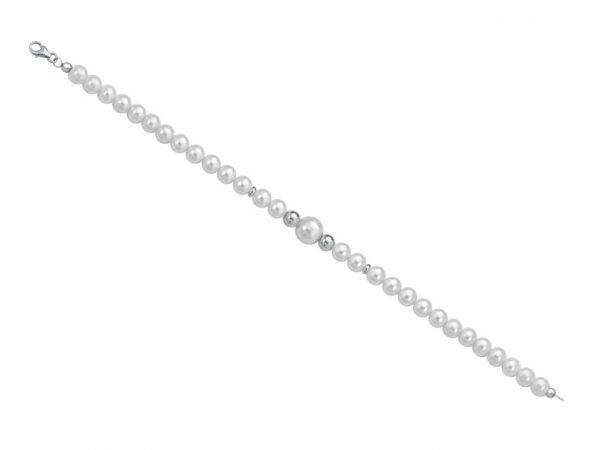 Bracciale di perle 6 mm con 2 sfere lucide in oro bianco - Collezione Bouquet Verre Gioielli