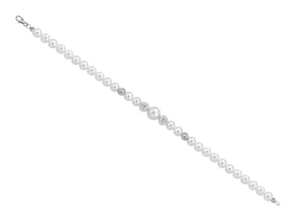 Bracciale di perle 6 mm con 2 sfere zirconate e 2 sfere sfaccettate in oro bianco - Collezione Bouquet Verre Gioielli