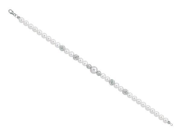 Bracciale di perle 6 mm con 4 sfere zirconate e 2 sfere sfaccettate in oro bianco - Collezione Bouquet Verre Gioielli