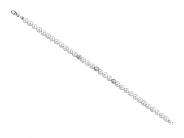 Bracciale di perle 6 mm con  3 sfere sfaccettate in oro bianco - Collezione Sfaccettata Verre Gioielli