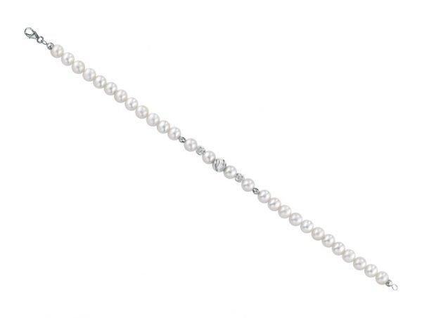 Bracciale di perle 6 mm con 2 sfere zirconate 2 sfere ovali in oro bianco e 1 sfera rigata in oro bianco  – Collezione Rigata Verre Gioielli