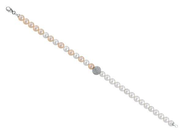 Bracciale di perle bianche alternate con perle rosa 5/6 mm  con 1 sfera satinata in oro bianco 18 kt  e chiusura in oro bianco 18 kt - Collezione Asimmetrica Verre Gioielli