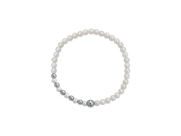 Bracciale a molla di perle bianche 4/5 mm alternate con 6 sfere lucide in oro bianco 18 kt - Collezione Asimmetrica Verre Gioielli