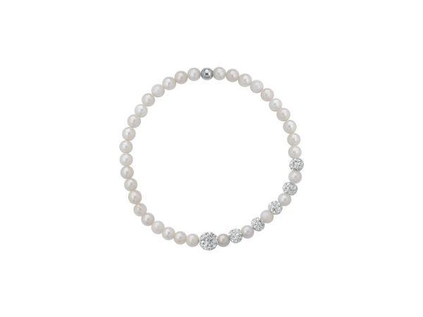 Bracciale a molla di perle bianche 4/5 mm con 6 sfere zirconate - Collezione Asimmetrica Verre Gioielli