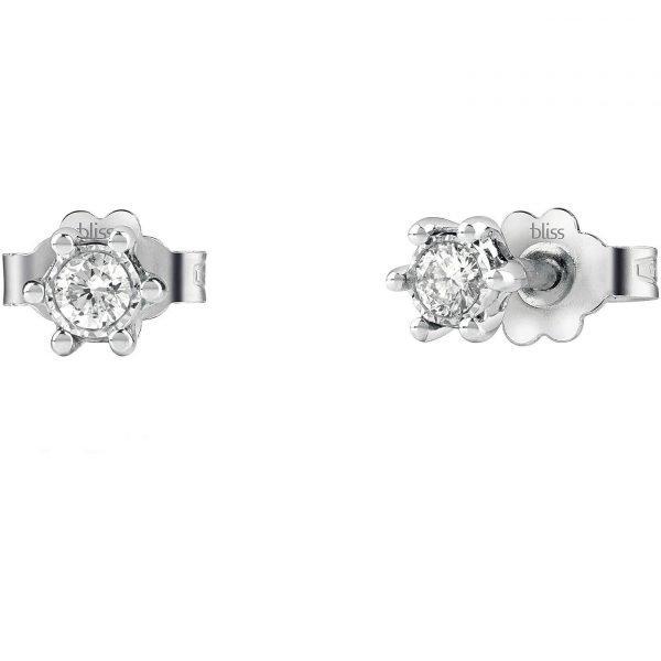 Orecchini Punto Luce Donna Bliss In Oro Bianco 18 Kt E Diamanti 0.1 Kt