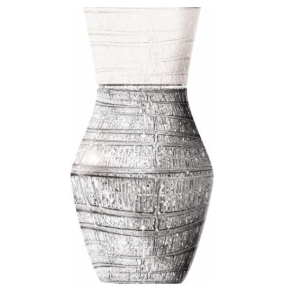 Vaso Argenesi In Vetro Bianco E Argento