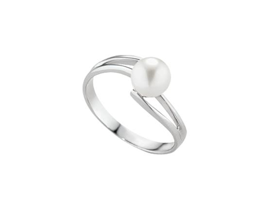 Anello con perla naturale 7 mm in oro bianco 18 kt - Collezione Anelli oro bianco 18 kt  Verre Gioielli -
