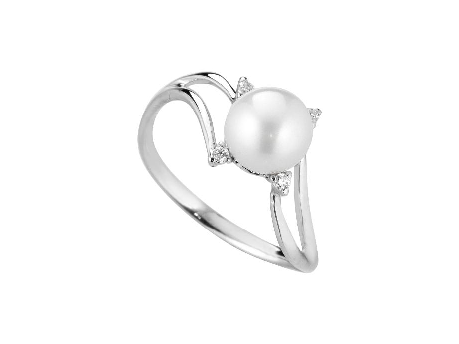 Anello con perla naturale 7 mm e diamanti CT 0