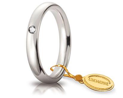 Fede Nuziale Comoda Unoaerre In Oro Bianco 18 Kt 3.5 Mm E Diamante