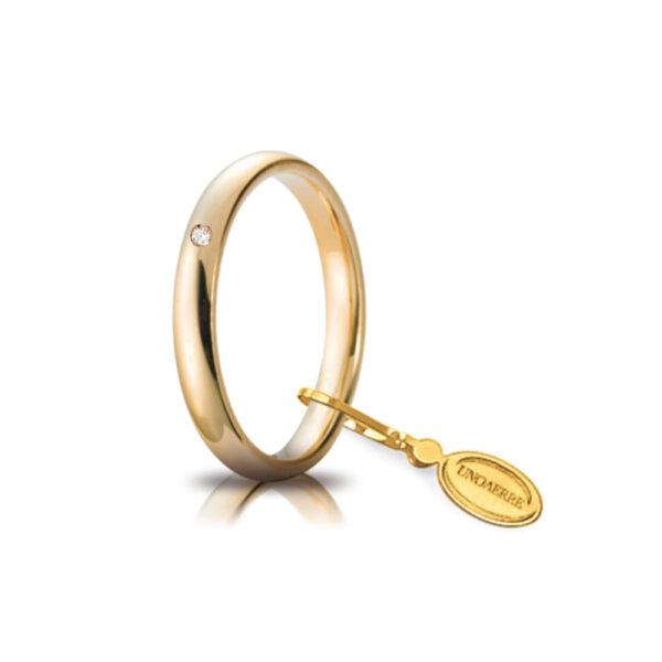 Fede Nuziale Comoda Unoaerre In Oro Giallo 18 Kt 3.5 Mm E Diamante