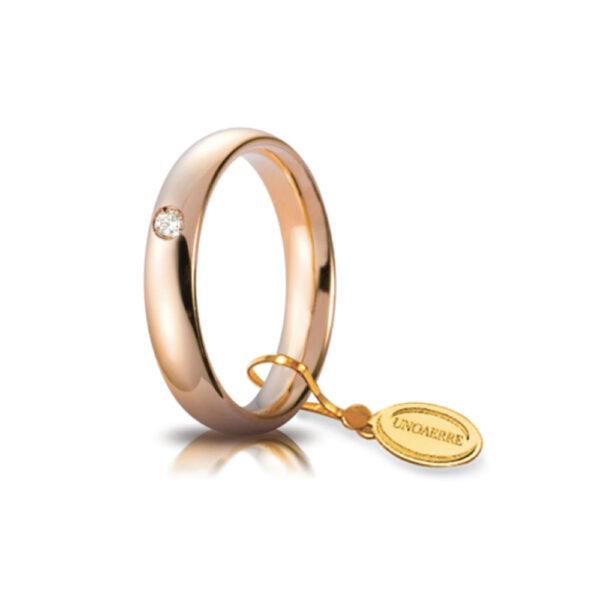 Fede Nuziale Comoda Unoaerre In Oro Rosa 18 Kt 3.5 Mm E Diamante