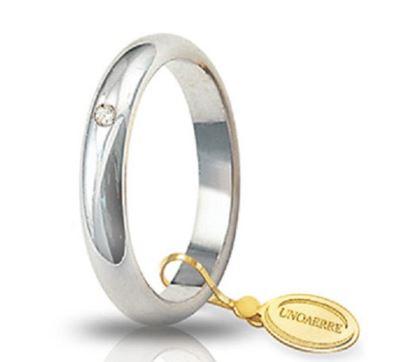 Fede Nuziale Unoaerre In Oro Bianco 18 Kt 5 Gr Con Diamante