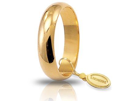 Fede Nuziale Larga Unoaerre In Oro Giallo 18 Kt 4 Gr