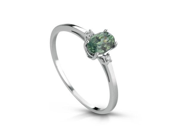 Anello Donna Pg Gioielli In Oro Bianco 18 Kt Con Zaffiro Verde 0.60 Ct E Diamanti 0.02 Kt