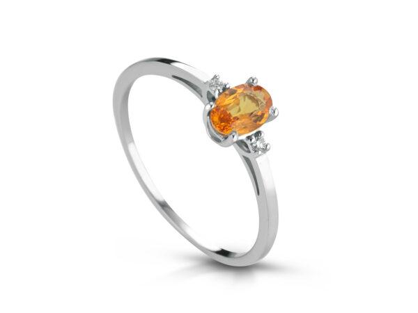 Anello Donna Pg Gioielli In Oro Bianco 18 Kt Con Zaffiro Arancione 0.60 Ct E Diamanti 0.02 Kt