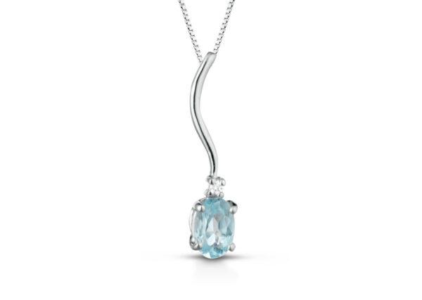 Collana Donna Pg Gioielli In Oro Bianco 18 Kt Con Acquamarina Pendente 0.40 Ct E Diamanti 0.01 Kt