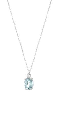 Collana Donna Pg Gioielli In Oro Bianco 18 kt Con Acquamarina 0.77 Ct Pendente E Diamanti 0.02 Kt