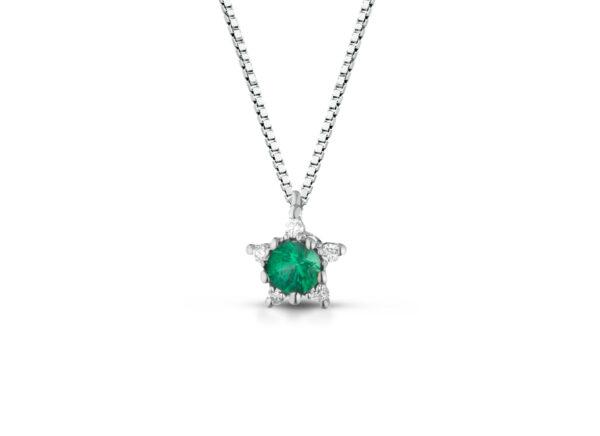 Collana Donna Pg Gioielli In Oro Bianco 18 Kt Con Smeraldo Verde Pendente 0.11 Ct E Diamanti 0.03 Kt