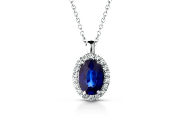 Collana Donna Pg Gioielli In Oro Bianco 18 Kt Con Zaffiro Blu Pendente 0.55 Ct E Diamanti 0.10 Kt